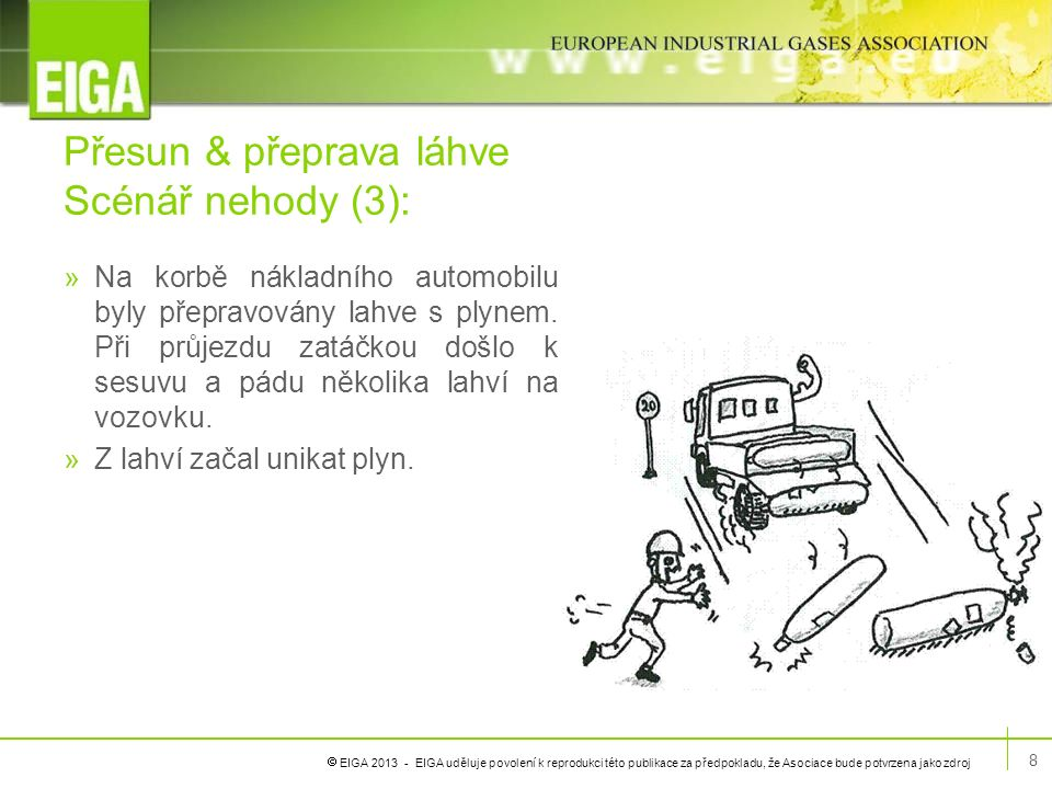  EIGA 2013 - EIGA uděluje povolení k reprodukci této publikace za předpokladu, že Asociace bude potvrzena jako zdroj Přesun & přeprava láhve Scénář nehody (3) »Možné příčiny: »Plynové lahve nebyly na nákladním automobilu řádně zajištěny.