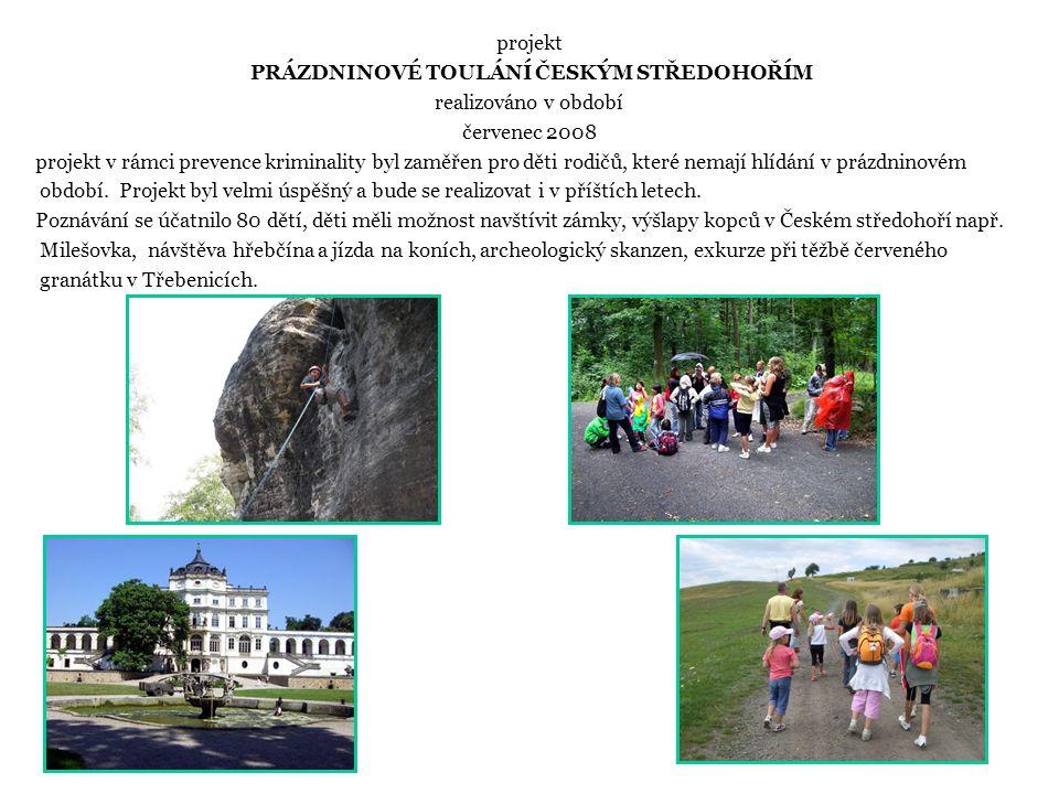 projekt PRÁZDNINOVÉ TOULÁNÍ ČESKÝM STŘEDOHOŘÍM realizováno v období červenec 2008 projekt v rámci prevence kriminality byl zaměřen pro děti rodičů, které nemají hlídání v prázdninovém období.