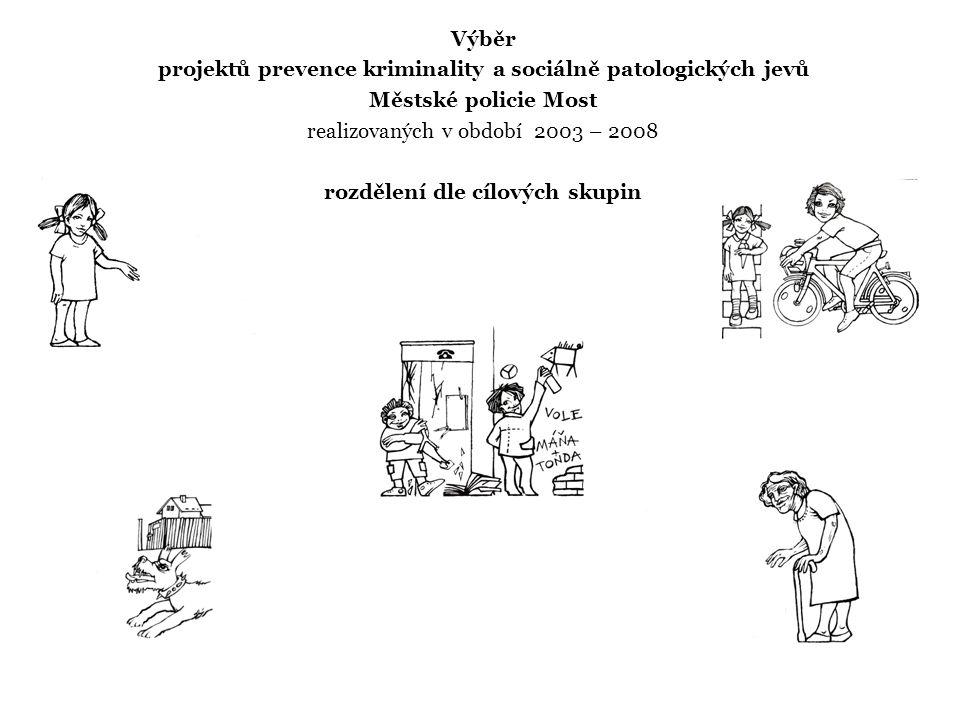 Výběr projektů prevence kriminality a sociálně patologických jevů Městské policie Most realizovaných v období 2003 – 2008 rozdělení dle cílových skupin