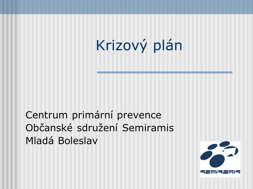 Krizový plán Centrum primární prevence Občanské sdružení Semiramis Mladá Boleslav