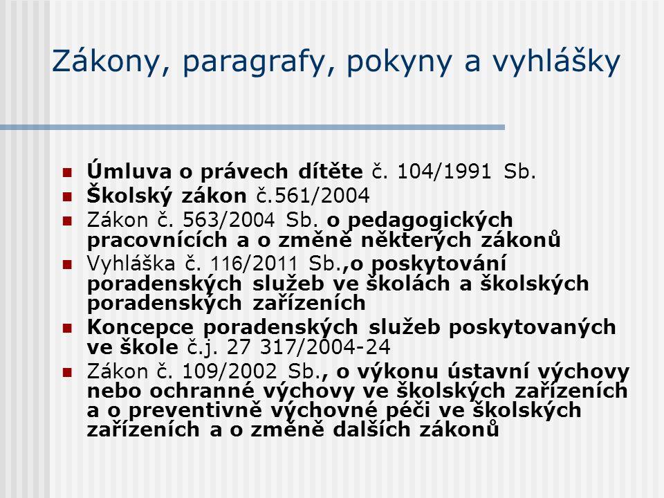 Zákony, paragrafy, pokyny a vyhlášky Úmluva o právech dítěte č.