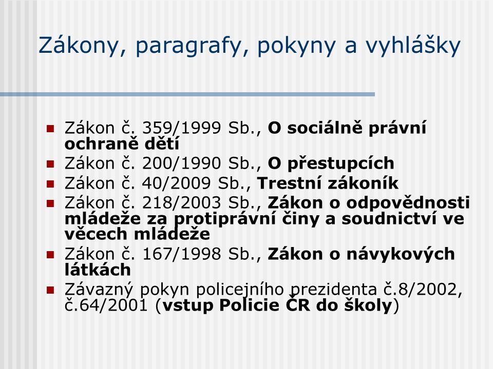 Zákony, paragrafy, pokyny a vyhlášky Zákon č. 359/1999 Sb., O sociálně právní ochraně dětí Zákon č.