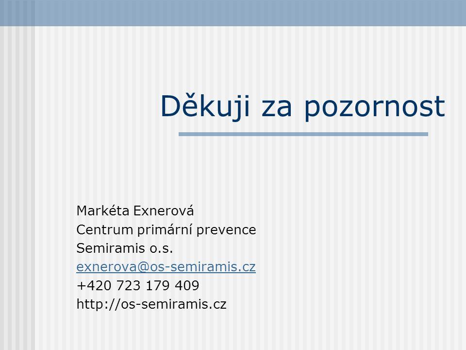 Děkuji za pozornost Markéta Exnerová Centrum primární prevence Semiramis o.s.