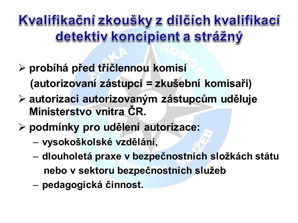  probíhá před tříčlennou komisí (autorizovaní zástupci = zkušební komisaři)  autorizaci autorizovaným zástupcům uděluje Ministerstvo vnitra ČR.