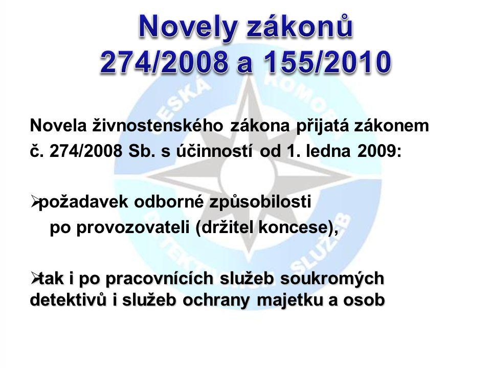 Novela živnostenského zákona přijatá zákonem č. 274/2008 Sb.