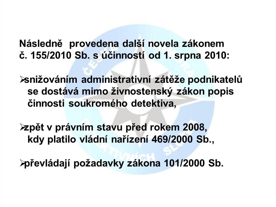 Následně provedena další novela zákonem č. 155/2010 Sb.