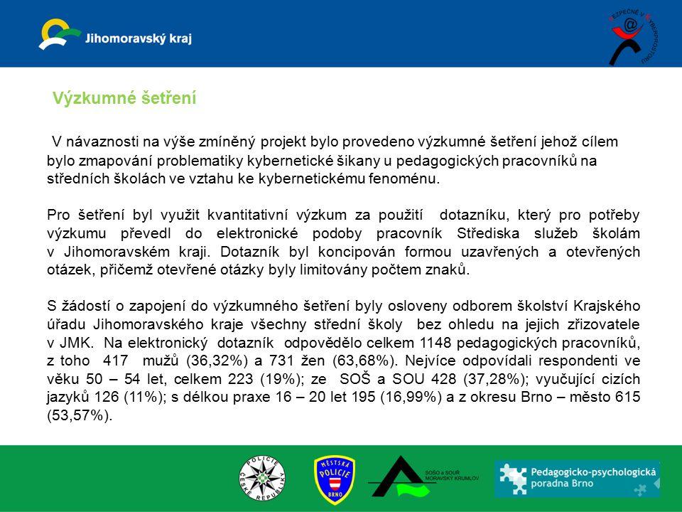 V návaznosti na výše zmíněný projekt bylo provedeno výzkumné šetření jehož cílem bylo zmapování problematiky kybernetické šikany u pedagogických praco