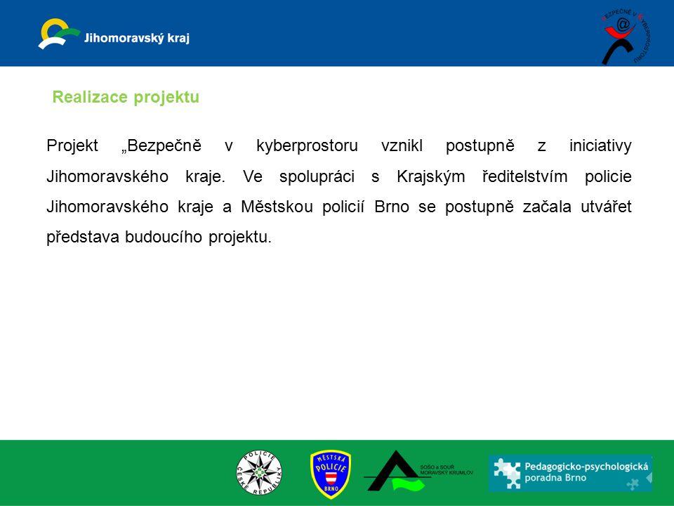 """Projekt """"Bezpečně v kyberprostoru vznikl postupně z iniciativy Jihomoravského kraje. Ve spolupráci s Krajským ředitelstvím policie Jihomoravského kraj"""