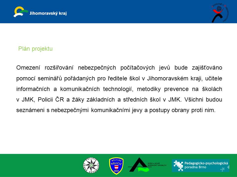 Omezení rozšiřování nebezpečných počítačových jevů bude zajišťováno pomocí seminářů pořádaných pro ředitele škol v Jihomoravském kraji, učitele informačních a komunikačních technologií, metodiky prevence na školách v JMK, Policii ČR a žáky základních a středních škol v JMK.