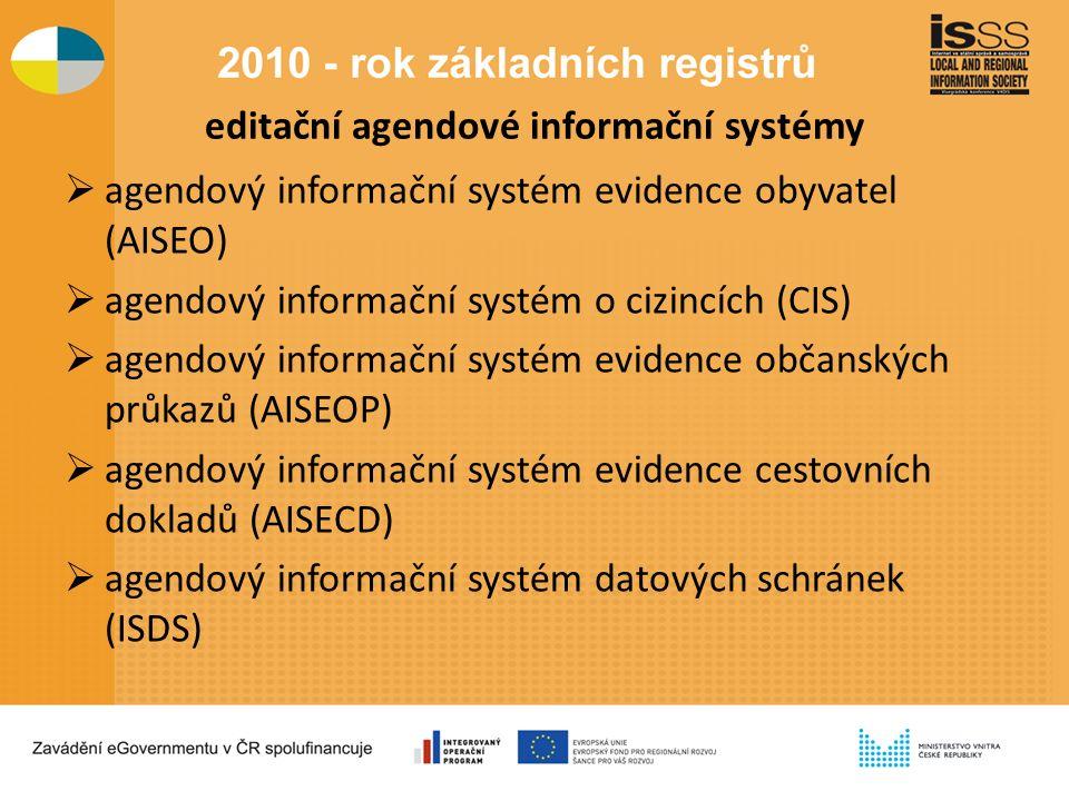 editační agendové informační systémy  agendový informační systém evidence obyvatel (AISEO)  agendový informační systém o cizincích (CIS)  agendový informační systém evidence občanských průkazů (AISEOP)  agendový informační systém evidence cestovních dokladů (AISECD)  agendový informační systém datových schránek (ISDS)