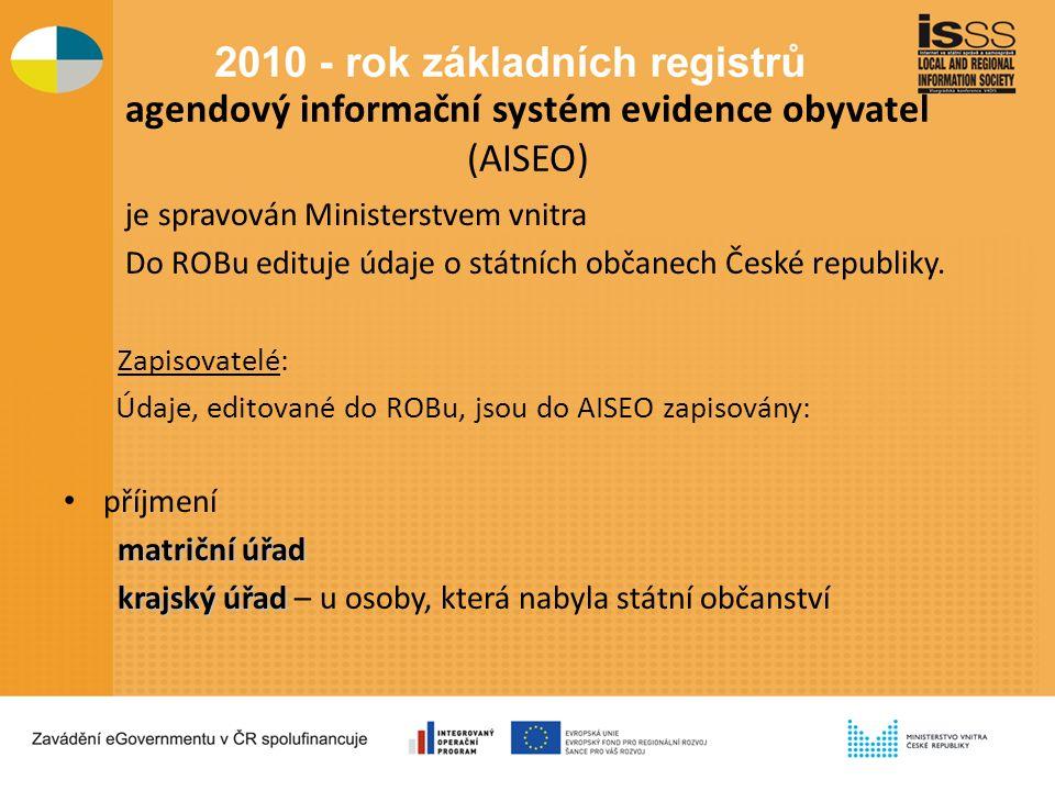 agendový informační systém evidence obyvatel (AISEO) je spravován Ministerstvem vnitra Do ROBu edituje údaje o státních občanech České republiky.