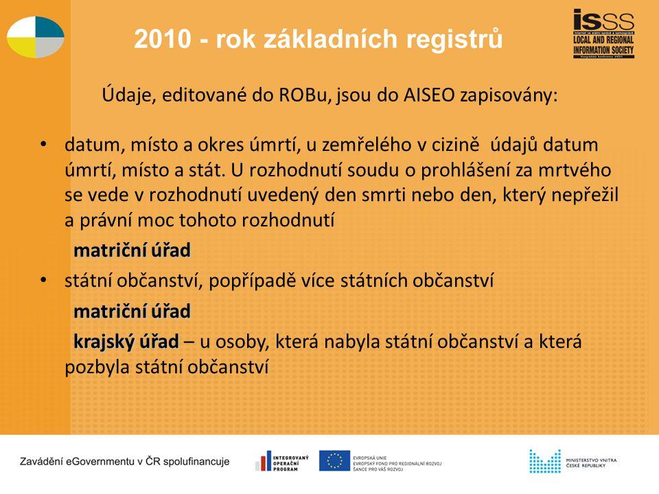 Údaje, editované do ROBu, jsou do AISEO zapisovány: datum, místo a okres úmrtí, u zemřelého v cizině údajů datum úmrtí, místo a stát.