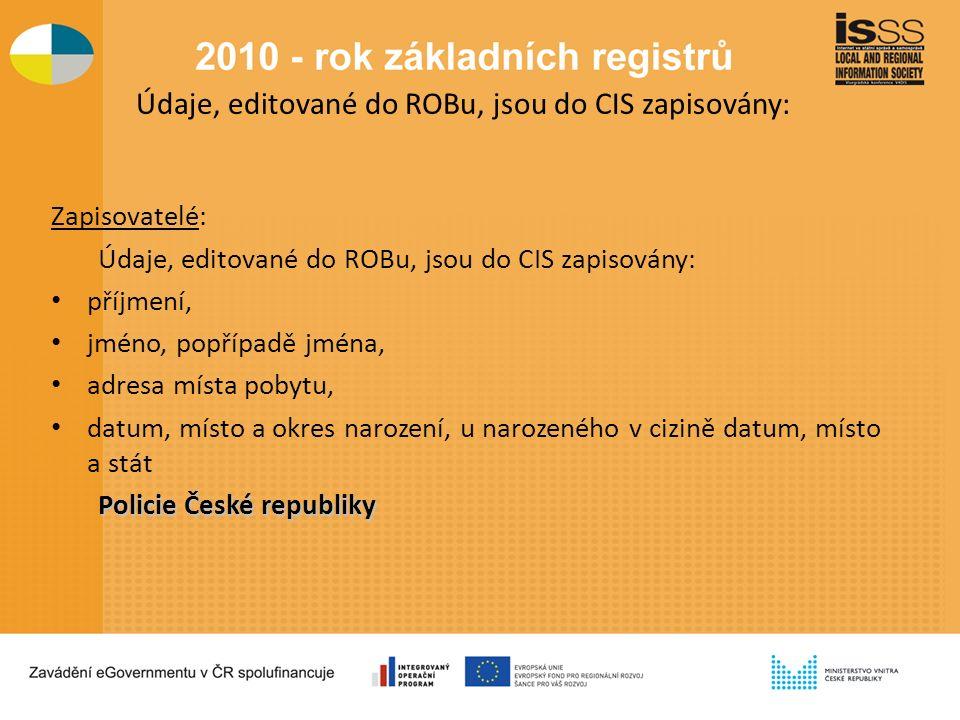 Údaje, editované do ROBu, jsou do CIS zapisovány: Zapisovatelé: Údaje, editované do ROBu, jsou do CIS zapisovány: příjmení, jméno, popřípadě jména, adresa místa pobytu, datum, místo a okres narození, u narozeného v cizině datum, místo a stát Policie České republiky