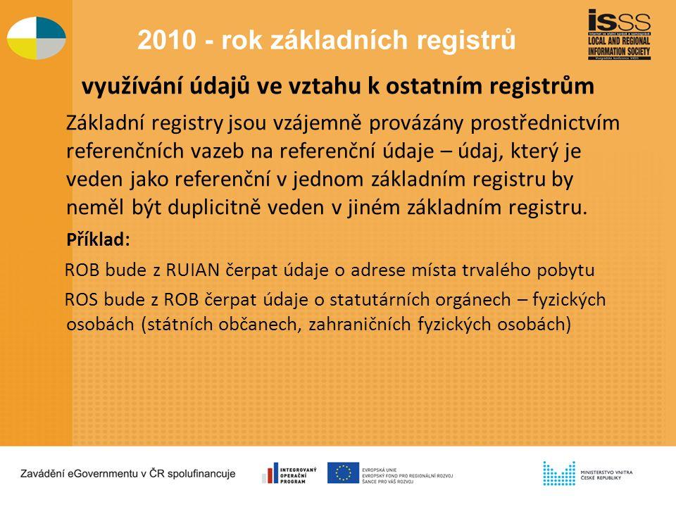 využívání údajů ve vztahu k ostatním registrům Základní registry jsou vzájemně provázány prostřednictvím referenčních vazeb na referenční údaje – údaj, který je veden jako referenční v jednom základním registru by neměl být duplicitně veden v jiném základním registru.