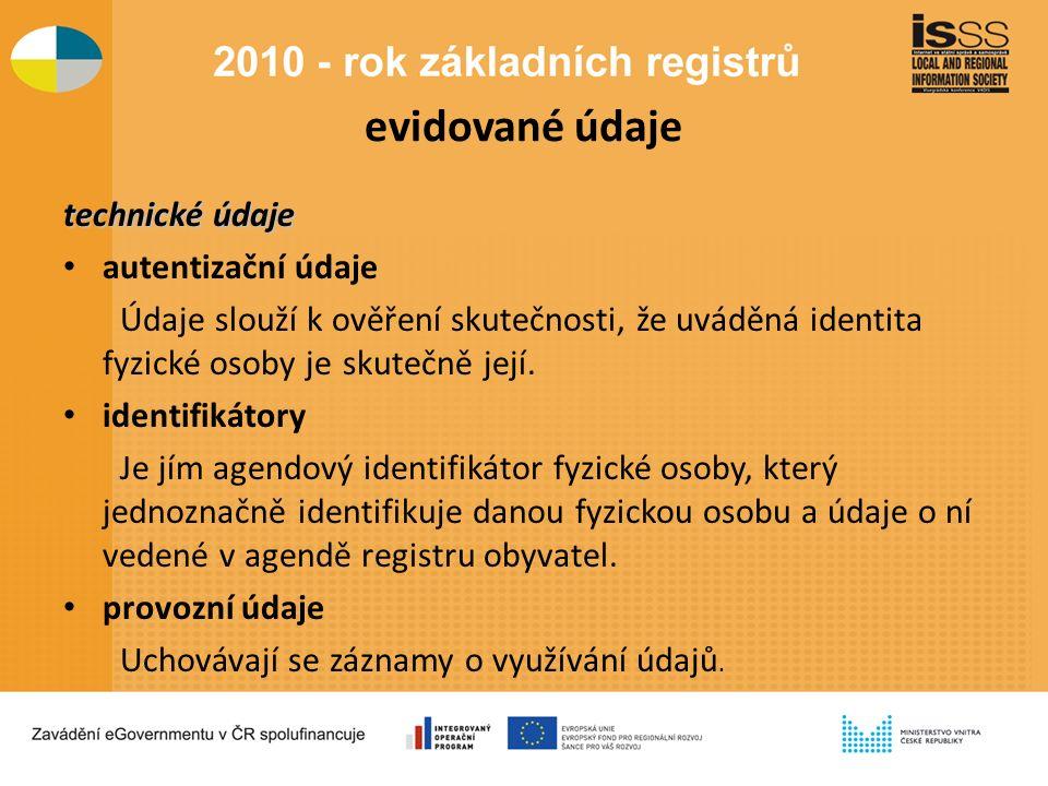 evidované údaje technické údaje autentizační údaje Údaje slouží k ověření skutečnosti, že uváděná identita fyzické osoby je skutečně její.