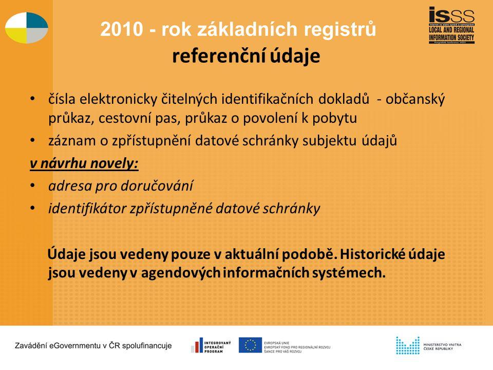 referenční údaje čísla elektronicky čitelných identifikačních dokladů - občanský průkaz, cestovní pas, průkaz o povolení k pobytu záznam o zpřístupnění datové schránky subjektu údajů v návrhu novely: adresa pro doručování identifikátor zpřístupněné datové schránky Údaje jsou vedeny pouze v aktuální podobě.