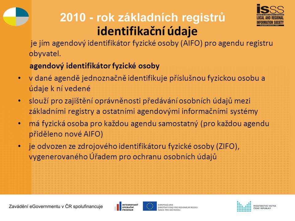identifikační údaje je jím agendový identifikátor fyzické osoby (AIFO) pro agendu registru obyvatel.