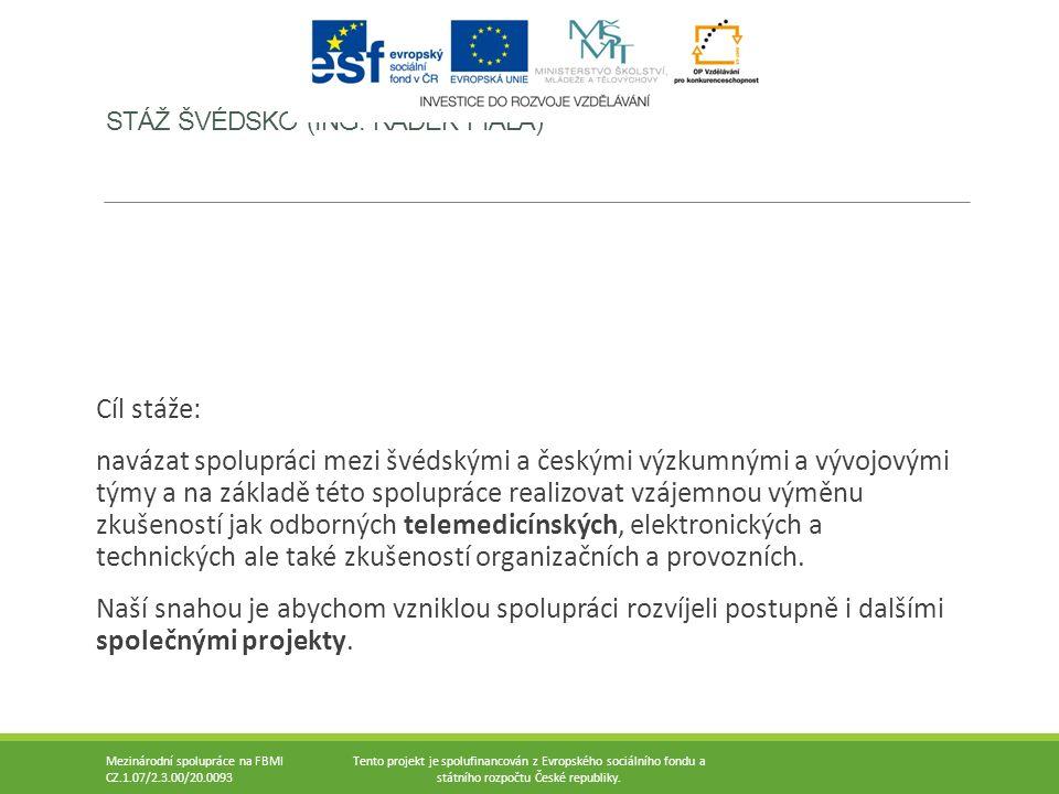 Mezinárodní spolupráce na FBMI CZ.1.07/2.3.00/20.0093 Tento projekt je spolufinancován z Evropského sociálního fondu a státního rozpočtu České republi