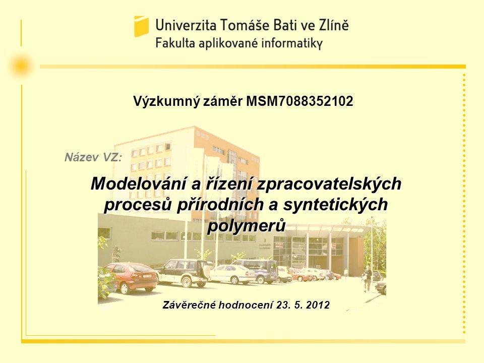 Zlín 23. 5. 2012Průběžné hodnocení výzkumného záměru MSM7088352102 za roky řešení 2009 až 2011 Výzkumný záměr MSM7088352102 Název VZ: Modelování a říz