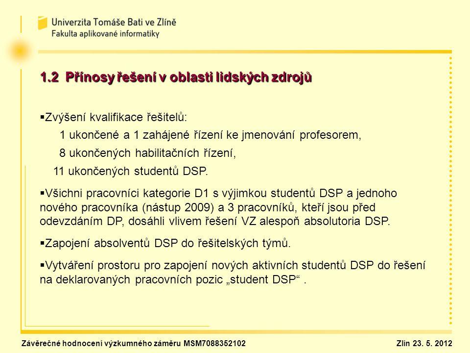 1.2 Přínosy řešení v oblasti lidských zdrojů   Zvýšení kvalifikace řešitelů: 1 ukončené a 1 zahájené řízení ke jmenování profesorem, 8 ukončených ha
