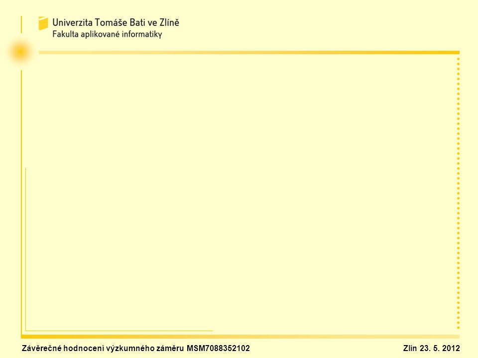 Závěrečné hodnocení výzkumného záměru MSM7088352102Zlín 23. 5. 2012