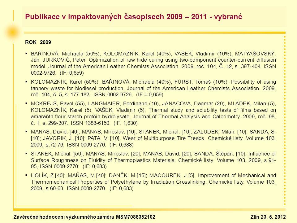 Publikace v impaktovaných časopisech 2009 – 2011 - vybrané ROK 2009   BAŘINOVÁ, Michaela (50%), KOLOMAZNÍK, Karel (40%), VAŠEK, Vladimír (10%), MATYAŠOVSKÝ, Ján, JURKOVIČ, Peter.