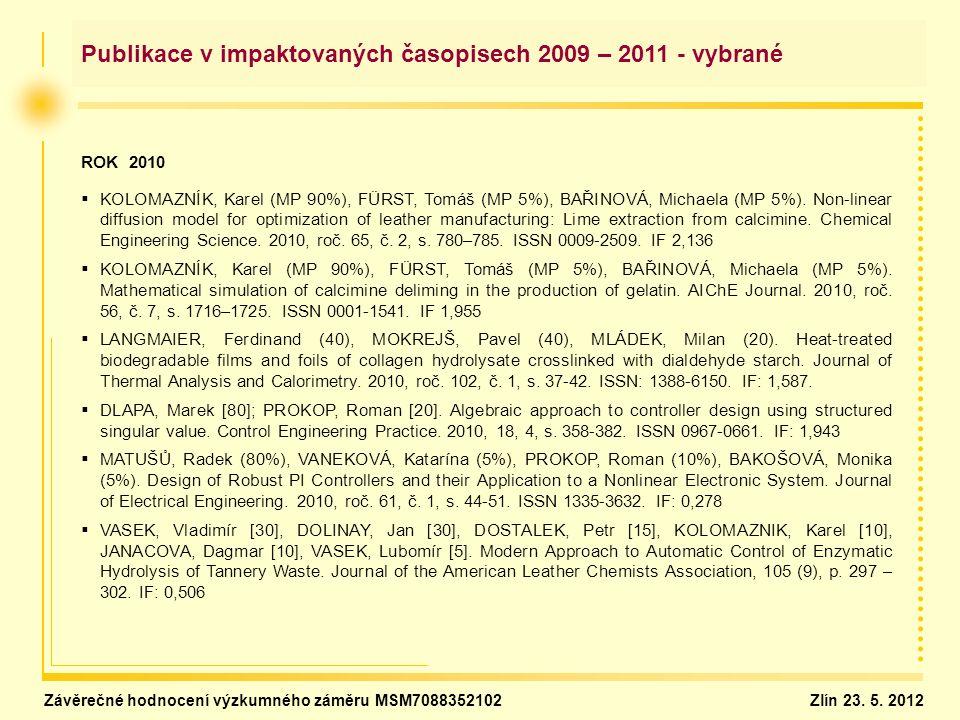 Publikace v impaktovaných časopisech 2009 – 2011 - vybrané ROK 2010   KOLOMAZNÍK, Karel (MP 90%), FÜRST, Tomáš (MP 5%), BAŘINOVÁ, Michaela (MP 5%).