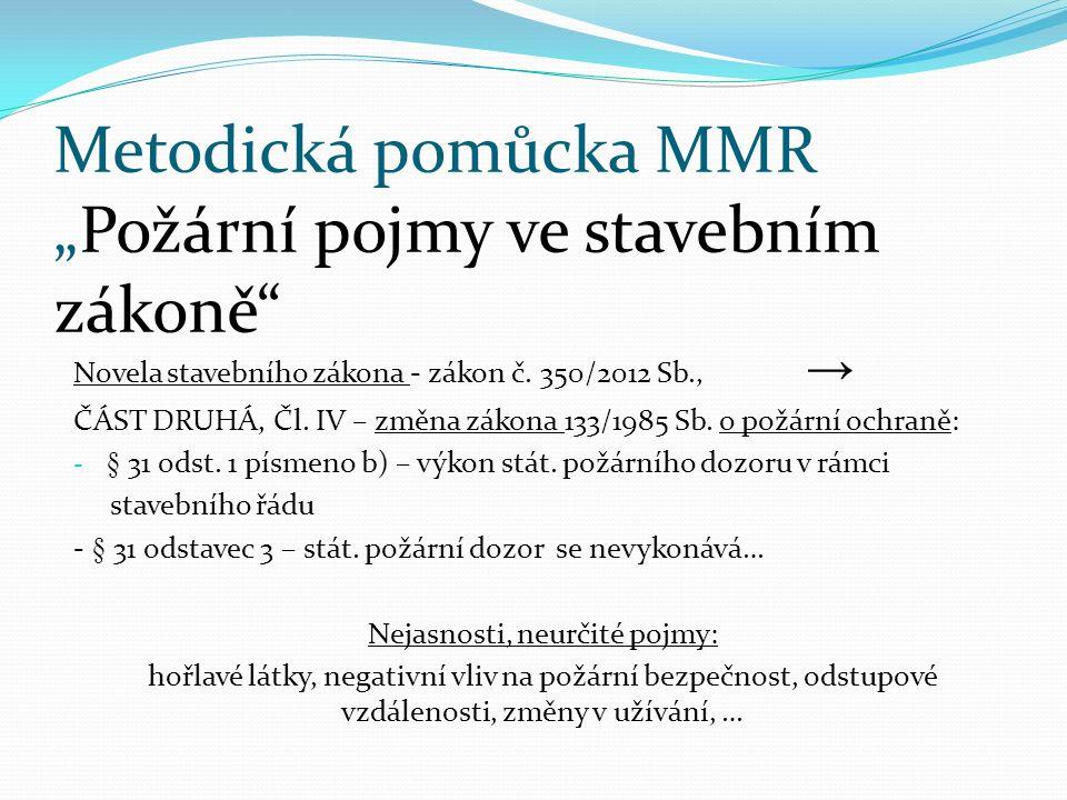 """Metodická pomůcka MMR """"Požární pojmy ve stavebním zákoně Novela stavebního zákona - zákon č."""