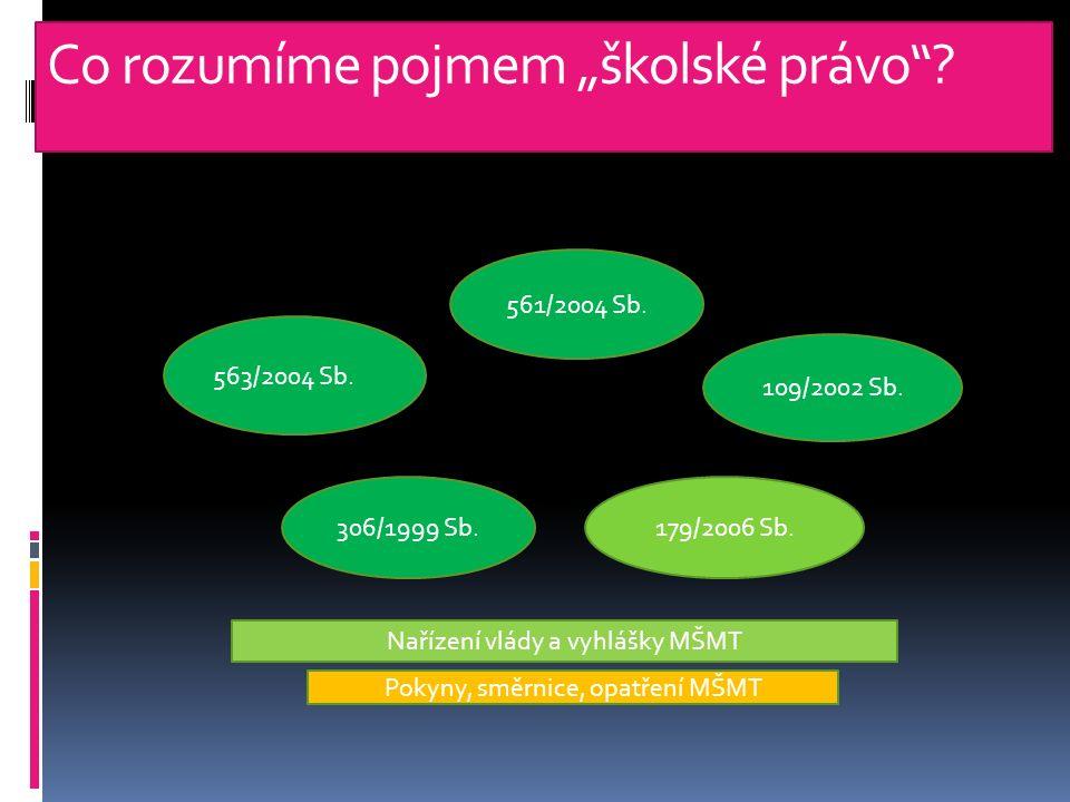 """Co rozumíme pojmem """"školské právo . 563/2004 Sb. 561/2004 Sb."""