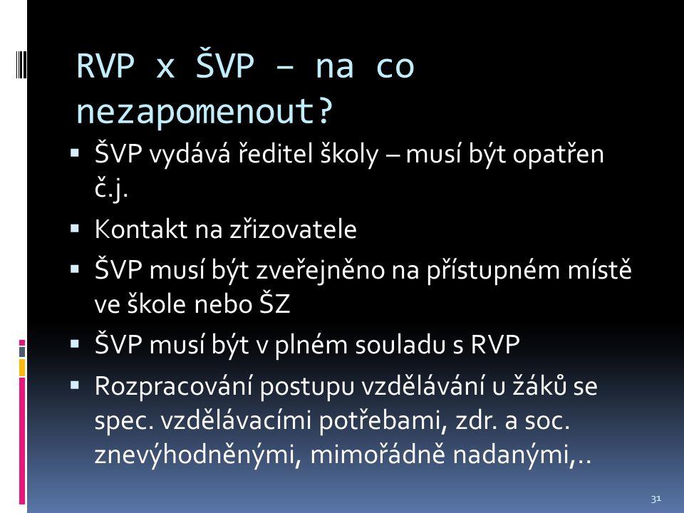 RVP x ŠVP – na co nezapomenout.  ŠVP vydává ředitel školy – musí být opatřen č.j.