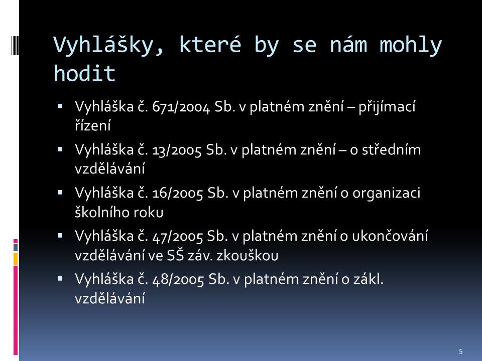 Vyhlášky, které by se nám mohly hodit  Vyhláška č.