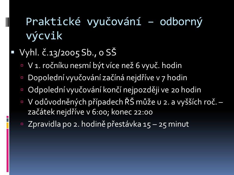 Praktické vyučování – odborný výcvik  Vyhl. č.13/2005 Sb., o SŠ  V 1.