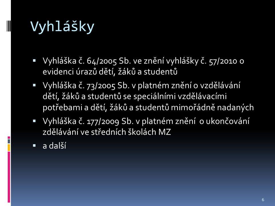 Vyhlášky  Vyhláška č. 64/2005 Sb. ve znění vyhlášky č.