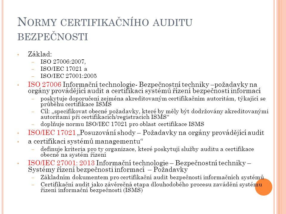 """N ORMY CERTIFIKAČNÍHO AUDITU BEZPEČNOSTI Základ: – ISO 27006:2007, – ISO/IEC 17021 a – ISO/IEC 27001:2005 ISO 27006 Informační technologie- Bezpečnostní techniky –požadavky na orgány provádějící audit a certifikaci systémů řízení bezpečnosti informací – poskytuje doporučení zejména akreditovaným certifikačním autoritám, týkající se průběhu certifikace ISMS – Cíl: """"specifikovat obecné požadavky, které by měly být dodržovány akreditovanými autoritami při certifikacích/registracích ISMS – doplňuje normu ISO/IEC 17021 pro oblast certifikace ISMS ISO/IEC 17021 """"Posuzování shody – Požadavky na orgány provádějící audit a certifikaci systémů managementu – definuje kriteria pro ty organizace, které poskytují služby auditu a certifikace obecně na systém řízení ISO/IEC 27001: 2013 Informační technologie – Bezpečnostní techniky – Systémy řízení bezpečnosti informací – Požadavky – Základním dokumentem pro certifikační audit bezpečnosti informačních systémů – Certifikační audit jako závěrečná etapa dlouhodobého procesu zavádění systému řízení informační bezpečnosti (ISMS)"""