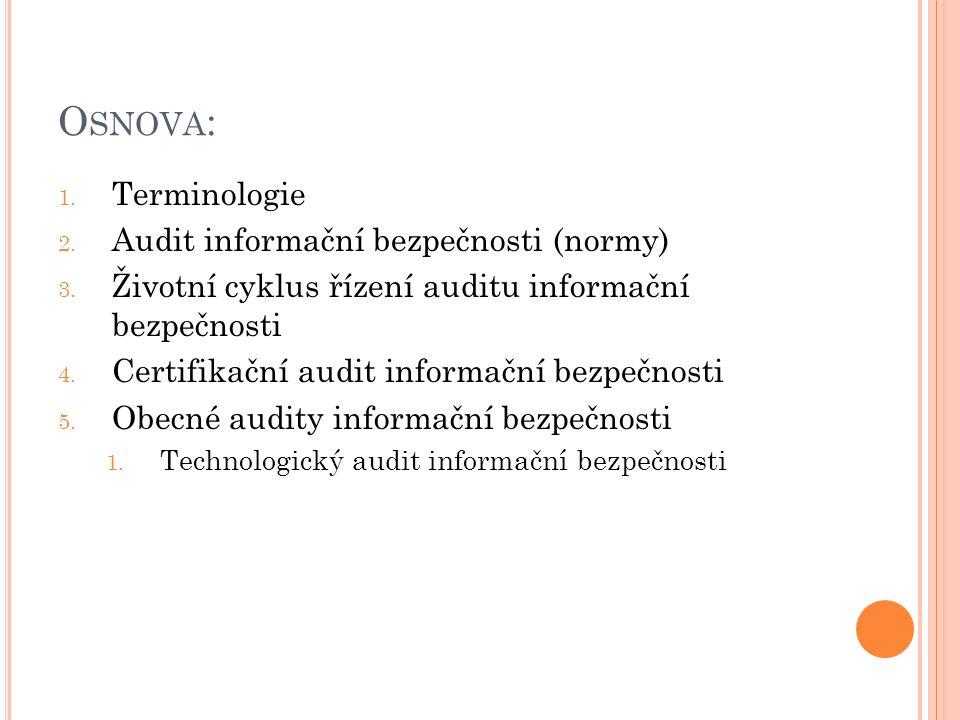 O SNOVA : 1. Terminologie 2. Audit informační bezpečnosti (normy) 3. Životní cyklus řízení auditu informační bezpečnosti 4. Certifikační audit informa