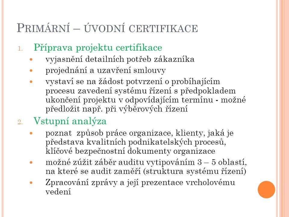 P RIMÁRNÍ – ÚVODNÍ CERTIFIKACE 1. Příprava projektu certifikace vyjasnění detailních potřeb zákazníka projednání a uzavření smlouvy vystaví se na žádo