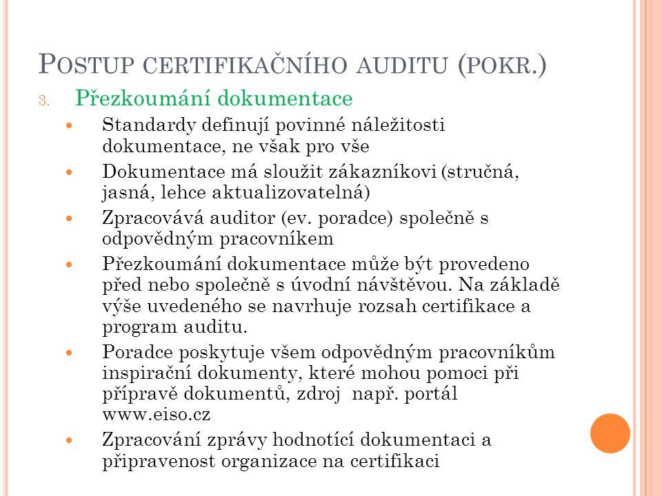 P OSTUP CERTIFIKAČNÍHO AUDITU ( POKR.) 3. Přezkoumání dokumentace Standardy definují povinné náležitosti dokumentace, ne však pro vše Dokumentace má s