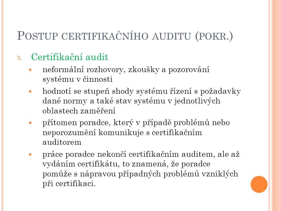P OSTUP CERTIFIKAČNÍHO AUDITU ( POKR.) 5. Certifikační audit neformální rozhovory, zkoušky a pozorování systému v činnosti hodnotí se stupeň shody sys