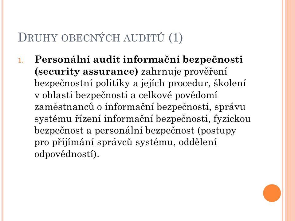 D RUHY OBECNÝCH AUDITŮ (1) 1. Personální audit informační bezpečnosti (security assurance) zahrnuje prověření bezpečnostní politiky a jejích procedur,