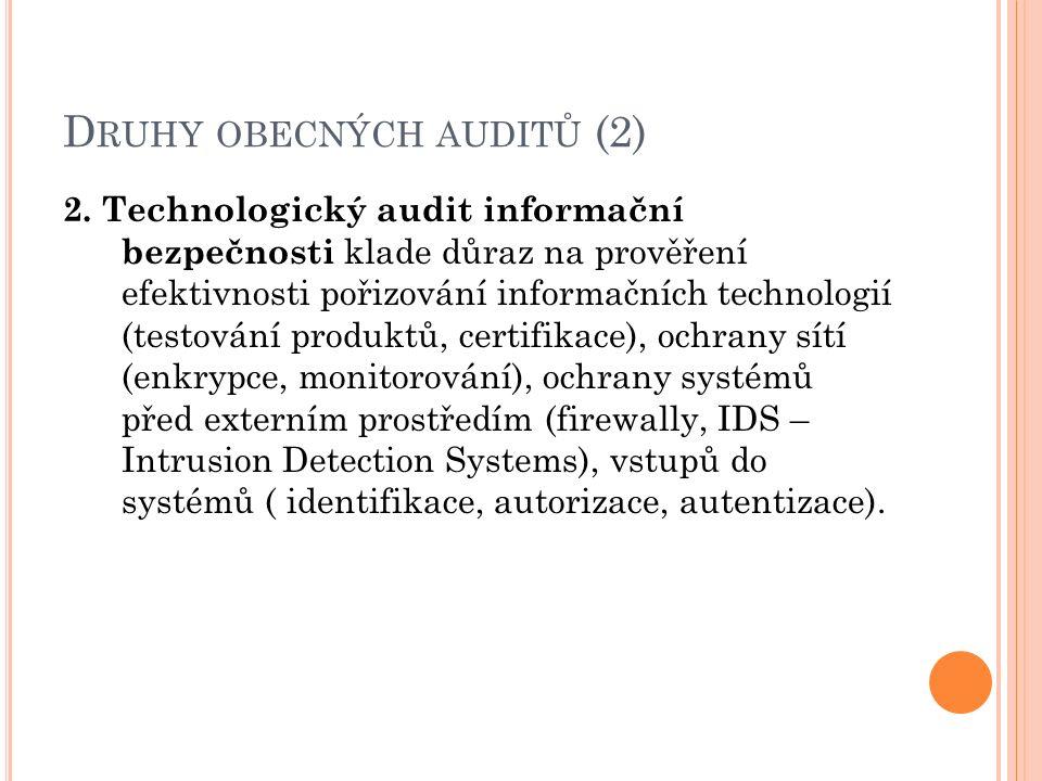 D RUHY OBECNÝCH AUDITŮ (2) 2. Technologický audit informační bezpečnosti klade důraz na prověření efektivnosti pořizování informačních technologií (te