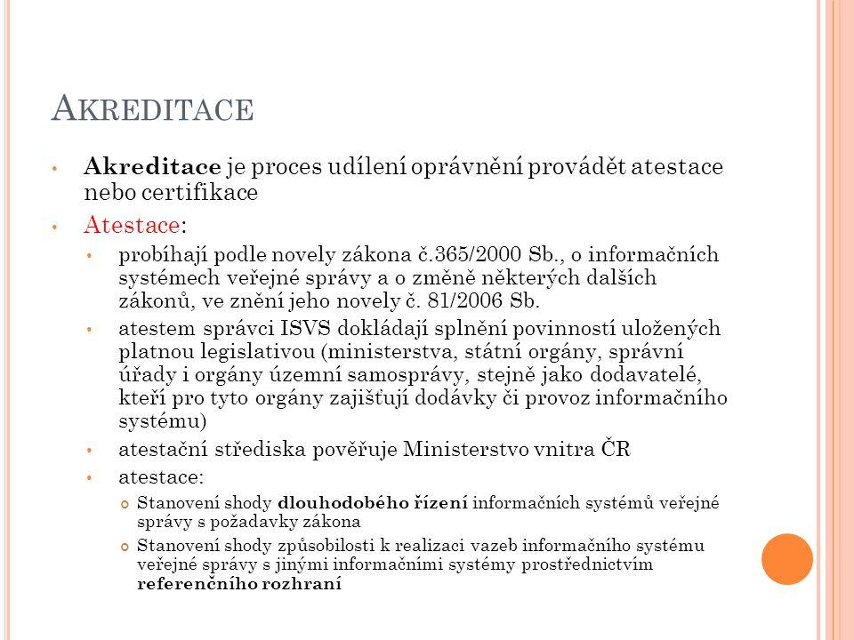 A KREDITACE Akreditace je proces udílení oprávnění provádět atestace nebo certifikace Atestace: probíhají podle novely zákona č.365/2000 Sb., o inform