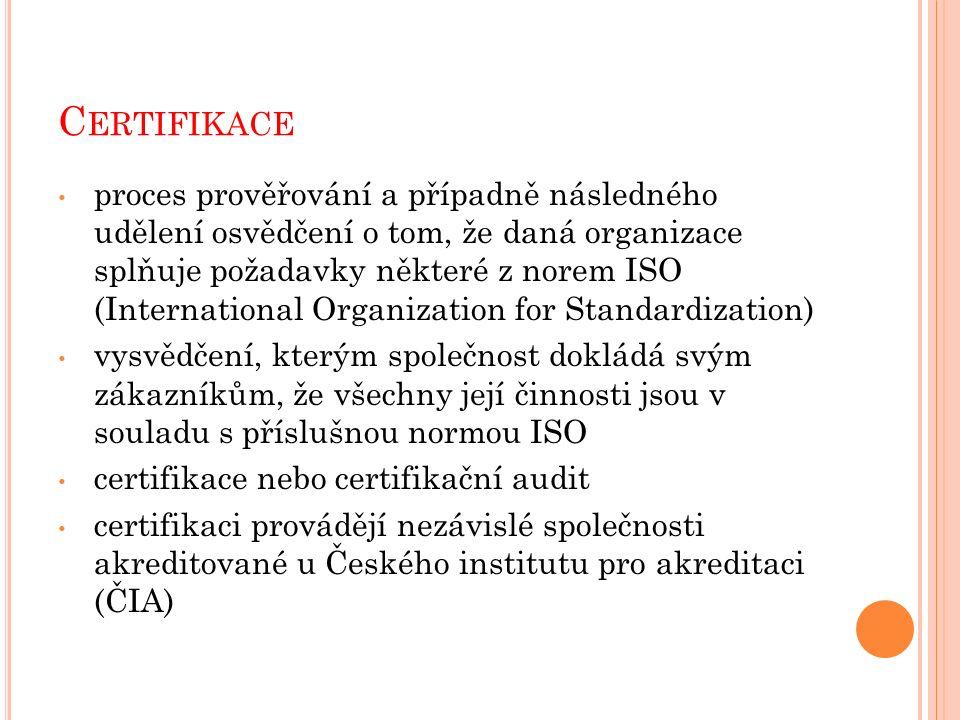 C ERTIFIKACE proces prověřování a případně následného udělení osvědčení o tom, že daná organizace splňuje požadavky některé z norem ISO (International Organization for Standardization) vysvědčení, kterým společnost dokládá svým zákazníkům, že všechny její činnosti jsou v souladu s příslušnou normou ISO certifikace nebo certifikační audit certifikaci provádějí nezávislé společnosti akreditované u Českého institutu pro akreditaci (ČIA)