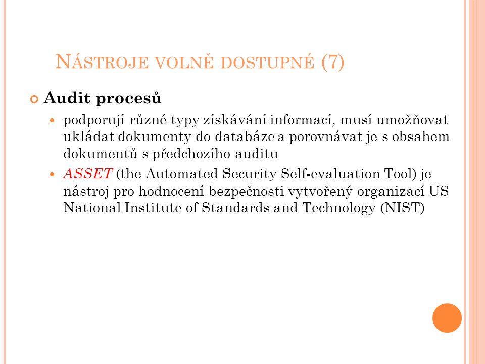 N ÁSTROJE VOLNĚ DOSTUPNÉ (7) Audit procesů podporují různé typy získávání informací, musí umožňovat ukládat dokumenty do databáze a porovnávat je s obsahem dokumentů s předchozího auditu ASSET (the Automated Security Self-evaluation Tool) je nástroj pro hodnocení bezpečnosti vytvořený organizací US National Institute of Standards and Technology (NIST)