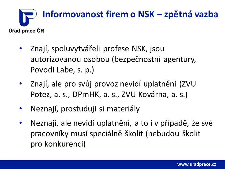 Informovanost firem o NSK – zpětná vazba Znají, spoluvytvářeli profese NSK, jsou autorizovanou osobou (bezpečnostní agentury, Povodí Labe, s.