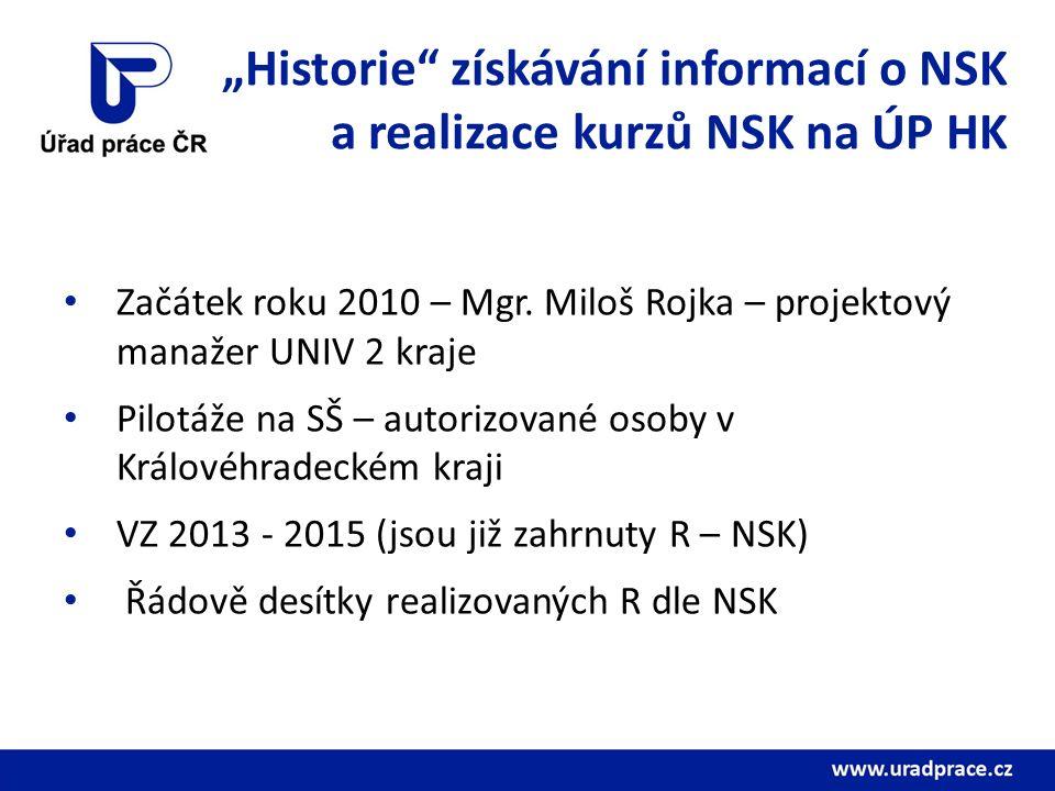 """""""Historie získávání informací o NSK a realizace kurzů NSK na ÚP HK Začátek roku 2010 – Mgr."""