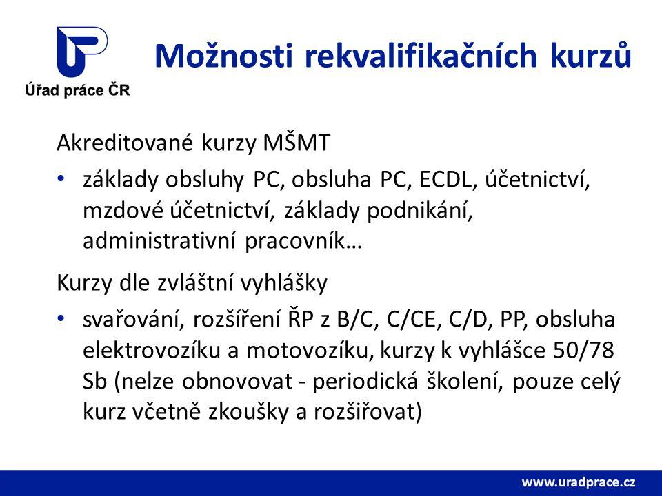 Možnosti rekvalifikačních kurzů Akreditované kurzy MŠMT základy obsluhy PC, obsluha PC, ECDL, účetnictví, mzdové účetnictví, základy podnikání, administrativní pracovník… Kurzy dle zvláštní vyhlášky svařování, rozšíření ŘP z B/C, C/CE, C/D, PP, obsluha elektrovozíku a motovozíku, kurzy k vyhlášce 50/78 Sb (nelze obnovovat - periodická školení, pouze celý kurz včetně zkoušky a rozšiřovat)