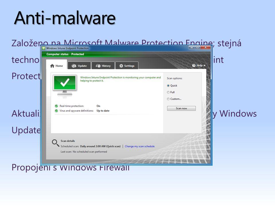 Založeno na Microsoft Malware Protection Engine; stejná technologie použitá i v Microsoft Forefront Endpoint Protection a Microsoft Security Essentials Aktualizace virové databáze prostřednictvím služby Windows Update Propojení s Windows Firewall Anti-malware
