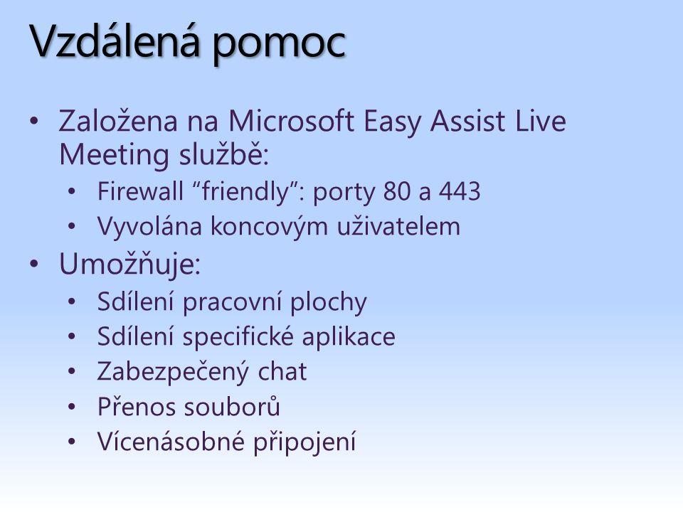 Vzdálená pomoc Založena na Microsoft Easy Assist Live Meeting službě: Firewall friendly : porty 80 a 443 Vyvolána koncovým uživatelem Umožňuje: Sdílení pracovní plochy Sdílení specifické aplikace Zabezpečený chat Přenos souborů Vícenásobné připojení