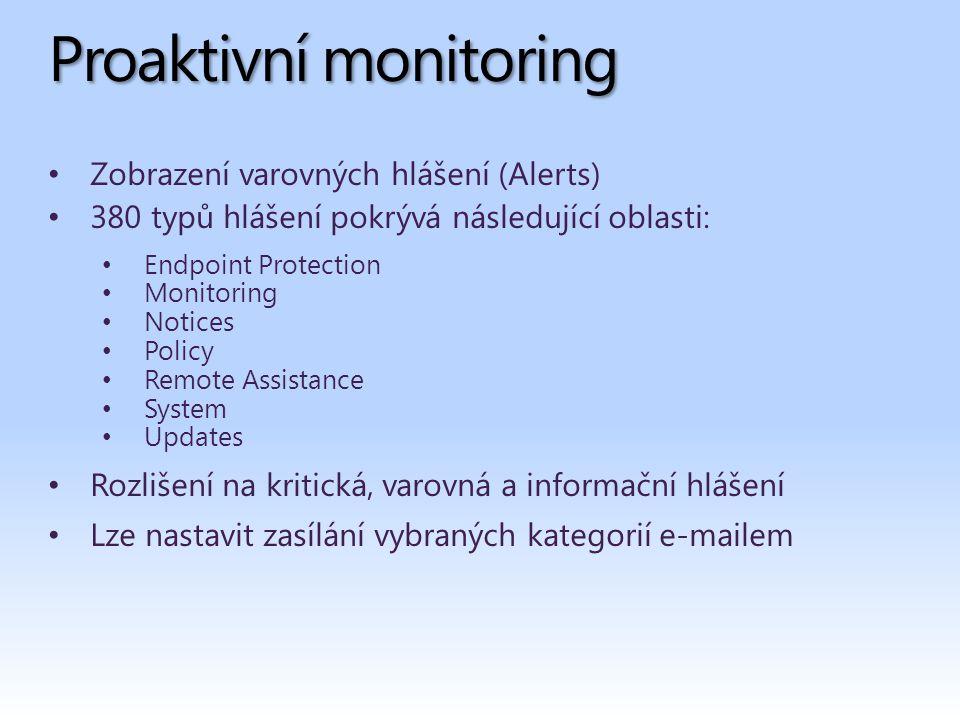Proaktivní monitoring Zobrazení varovných hlášení (Alerts) 380 typů hlášení pokrývá následující oblasti: Endpoint Protection Monitoring Notices Policy Remote Assistance System Updates Rozlišení na kritická, varovná a informační hlášení Lze nastavit zasílání vybraných kategorií e-mailem