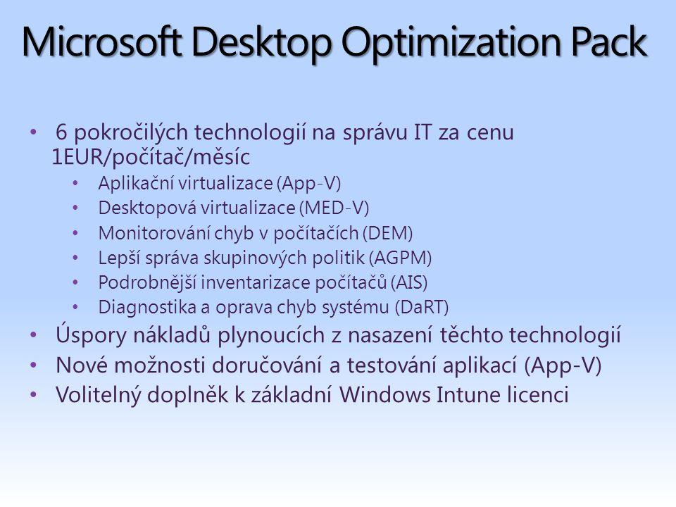 Microsoft Desktop Optimization Pack 6 pokročilých technologií na správu IT za cenu 1EUR/počítač/měsíc Aplikační virtualizace (App-V) Desktopová virtualizace (MED-V) Monitorování chyb v počítačích (DEM) Lepší správa skupinových politik (AGPM) Podrobnější inventarizace počítačů (AIS) Diagnostika a oprava chyb systému (DaRT) Úspory nákladů plynoucích z nasazení těchto technologií Nové možnosti doručování a testování aplikací (App-V) Volitelný doplněk k základní Windows Intune licenci